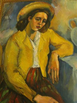 """LARGE OIL PAINTING """"LADY IN YELLOW HAT"""" MONIQUE MILLEN"""