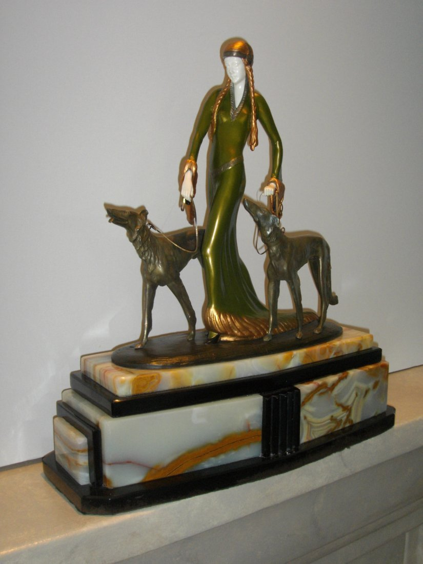 """IVORY-BRONZE-MARBLE SCULPTURE """"THE ARISTOCRATS""""CHIPARUS"""
