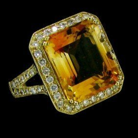 14 KT YELLOW GOLD DIAMONDS-CITRINE COCKTAIL RING