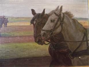 """OIL PAINT-RASMUS CHRISTIANSEN """"FARMER-HORSES IN FIELD"""""""