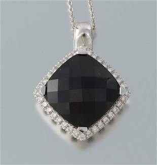 GEORGIO VINCONTI 18KT WHITE GOLD-DIAMONDS-BLACK ONYX