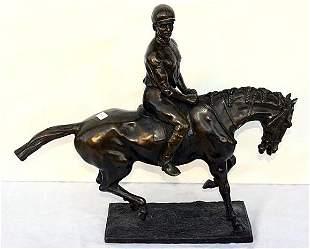 LARGE BRONZE SCULPTURE JOCKEY AND HORSE