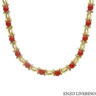 ENZO LIVERINO 18KT GOLD-CORAL-PERIDOTS NECKLACE