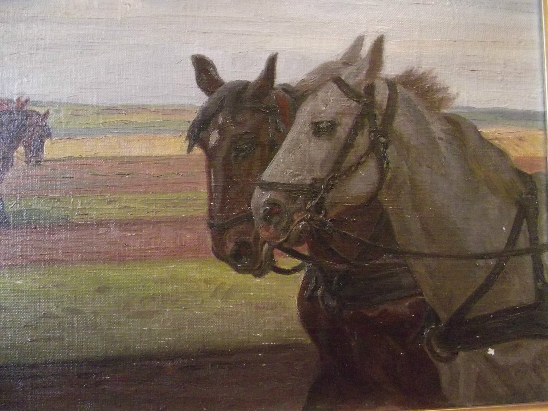 "OIL/CANVAS DANISH ARTIST RASMUS ""FARMER-HORSES IN FIELD"