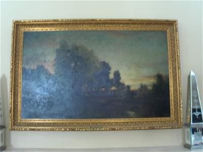 "ORIGINAL OIL/BOARD 1870 ""EVENING"" ROBERT MINOR"