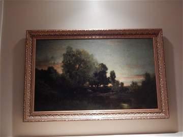 """ORIGINAL OIL/BOARD FRAMED 1870  """"EVENING """" ROBERT MINOR"""