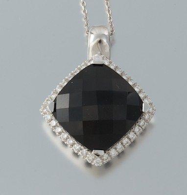 GEORGIO VISCONTI 18KT WHITE GOLD-DIAMONDS-BLACK ONYX