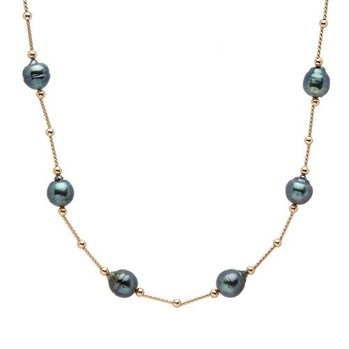 BLACK TAHITIAN PEARL NECKLACE AND 14KT GOLD NECKLACE