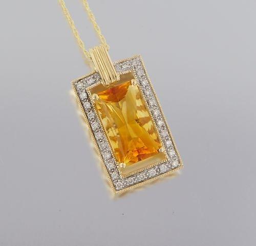 14KT YELLOW GOLD DIAMONDS AND CITRINE STONE  PENDANT
