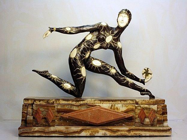 "CHIPARUS BRONZE PAINTINED SCULPTURE ""LEOTARD DANCER"""