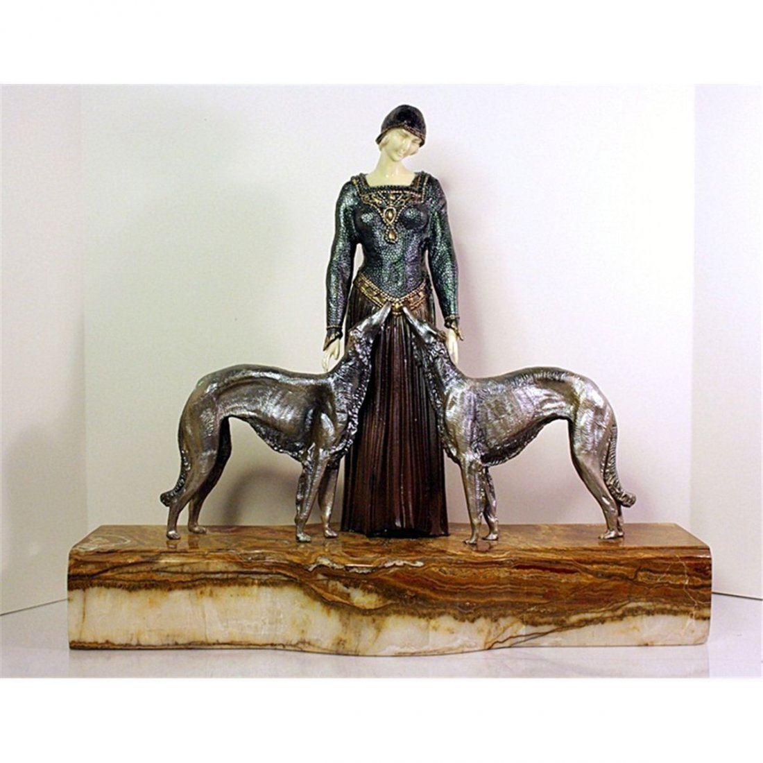 CHIPARUS PAINTED BRONZE-MARBLE-ONYX-IVORY  SCULPTURE