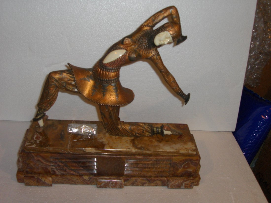 """CHIPARUS BRONZE- MARBLE-IVORY-ONYX SCULPTURE """"KARMONA"""""""