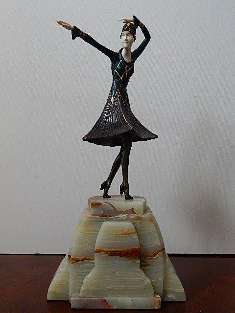 "ART DECO PAINTED BRONZE-ONYX-CARVED SCULPTURE ""MIRO"""