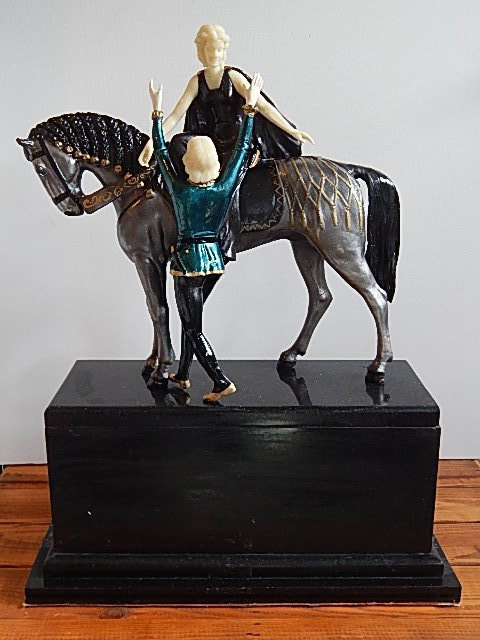"""ART DECO PAINTED BRONZE-CARVED-ONYX SCULPTURE """"ROMEO"""""""