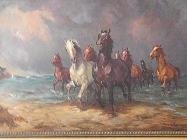 "ORIGINAL OIL PAINTING ""WILD HORSES"" WILLY P AHRWEILER"