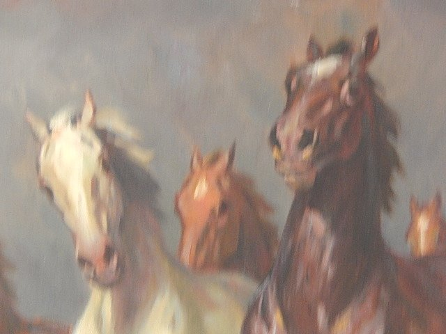 "ORIGINAL OIL PAINTING ""WILD HORSES"" WILLY P AHRWEILER - 2"