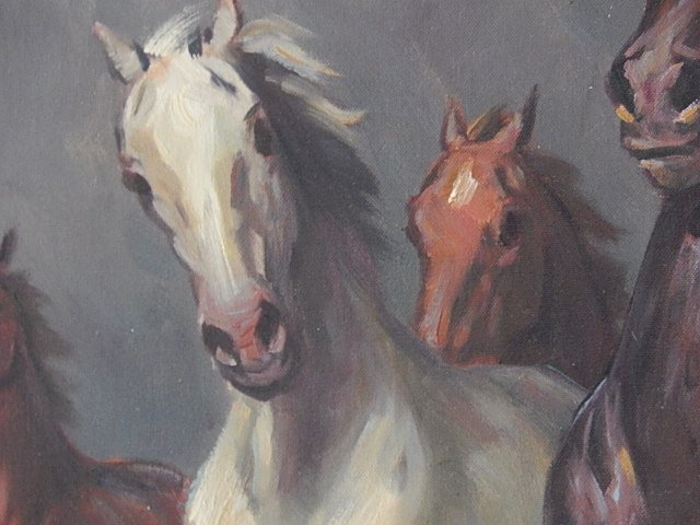 "ORIGINAL OIL PAINTING ""WILD HORSES"" WILLY P AHRWEILER - 3"