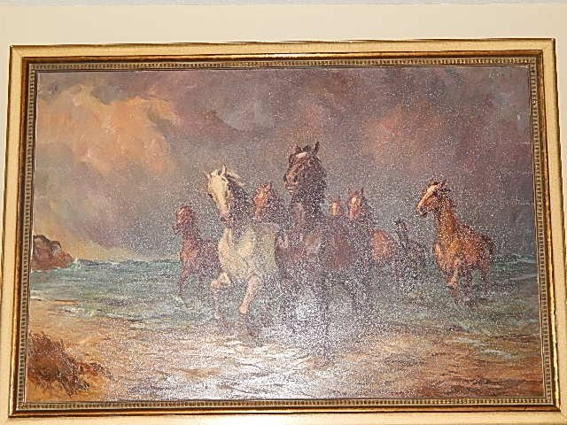 "ORIGINAL OIL PAINTING ""WILD HORSES"" WILLY P AHRWEILER - 4"