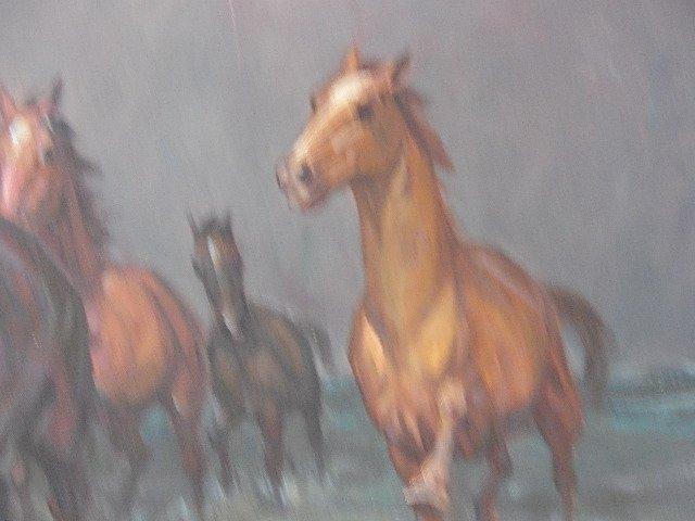 "ORIGINAL OIL PAINTING ""WILD HORSES"" WILLY P AHRWEILER - 5"