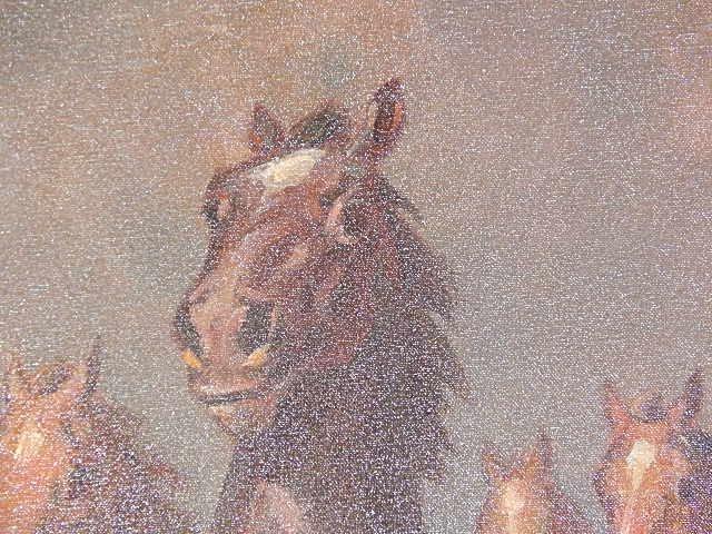 "ORIGINAL OIL PAINTING ""WILD HORSES"" WILLY P AHRWEILER - 6"