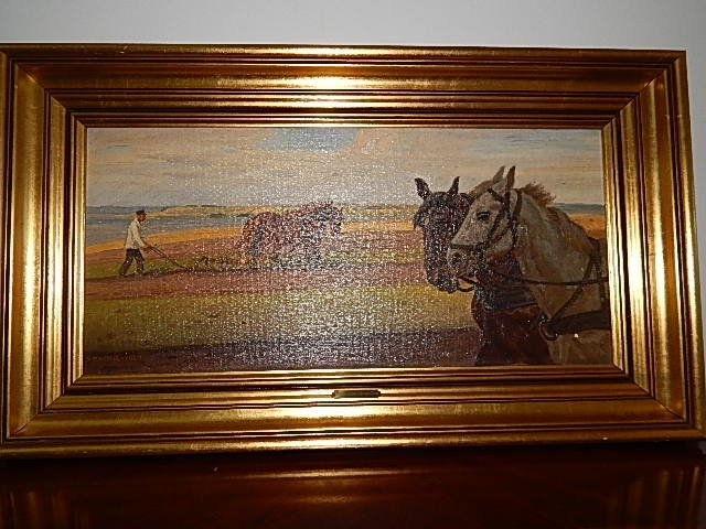 HORSES AND FARMER IN TH FIELDS OIL PAINTING ON CANVAS