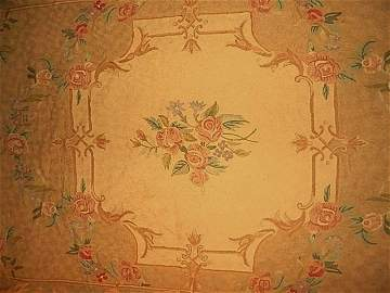 HAND MADE FRENCH AUBUSSON AREA RUG 100% WOOL