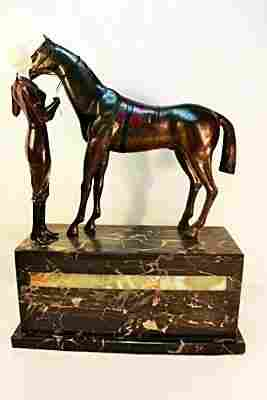 """PAINTED BRONZE AND ONYX SCULPTURE """"FAVORITE"""""""