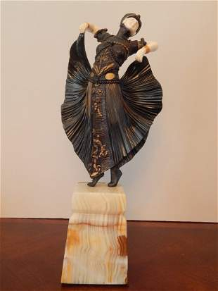 ART DECO PAINTED BRONZE-ONYX-CARVED SCULPTURE