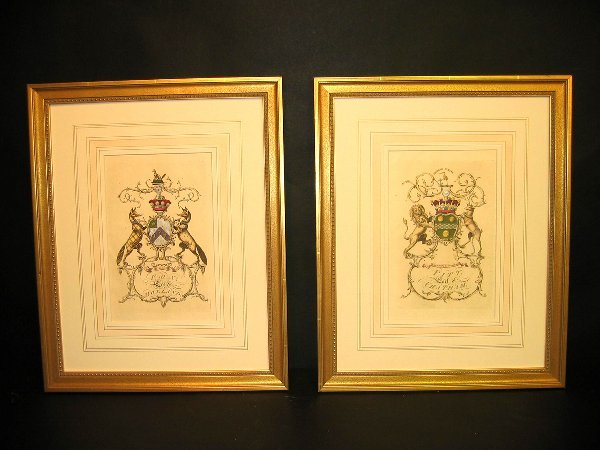5: Decorative art prints of crests.