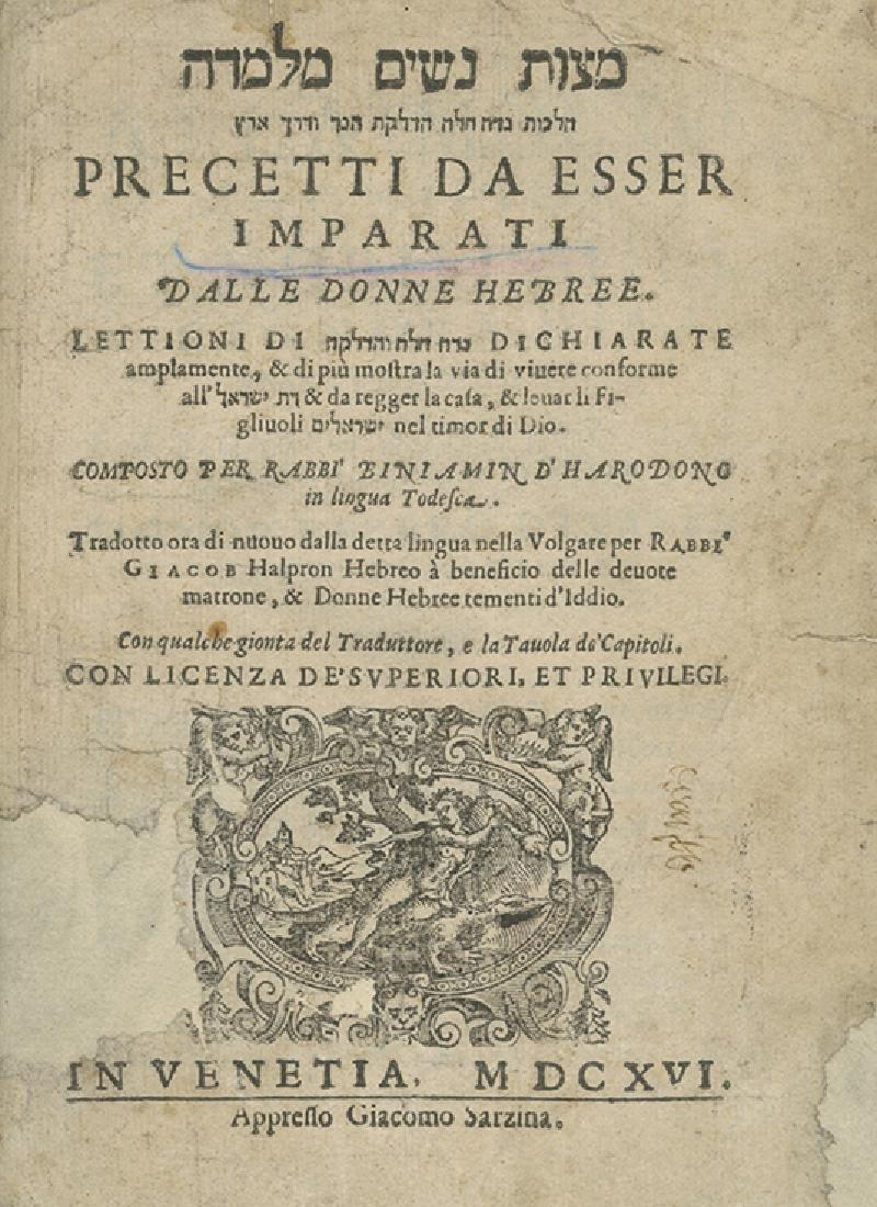 Mitzvat Nashim Melumada - First Two Italian Editions -