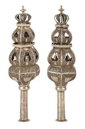 Pair of Torah Finials - North Africa