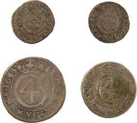 Four Coins with Tetragrammaton - Denmark, 1644-1645