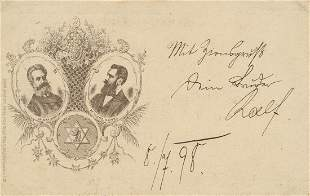 Herzl and Nordau - Postcard with Emblem of th...