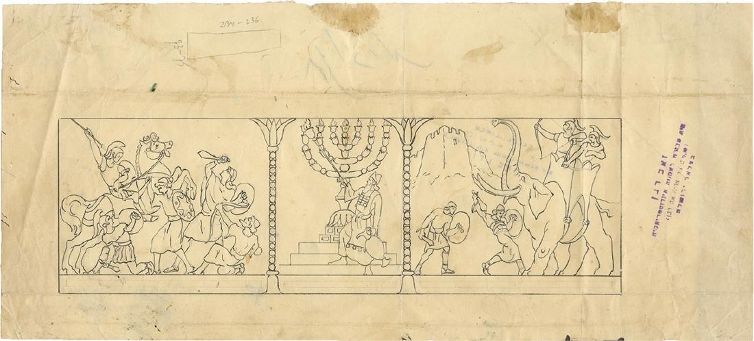 Ze'ev Raban -Two Original Drawings -Sketches fo... - 2
