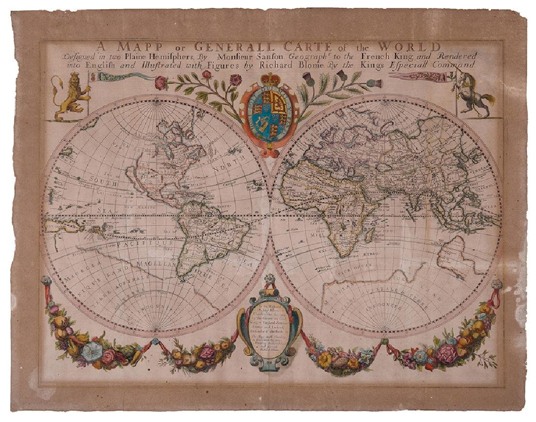 World Map - Hand-Colored Engraving - England, 17th