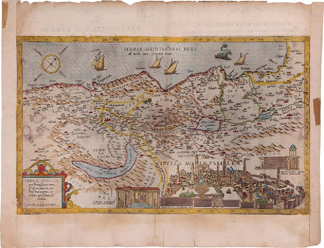 Map of Palestine - Engraving - Belgium, 16th Century