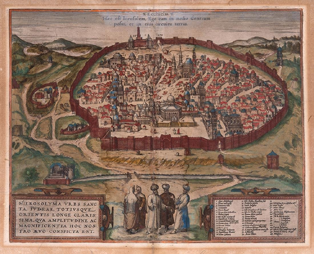 Map of Jerusalem - Hand-Colored Engraving - Cologne,