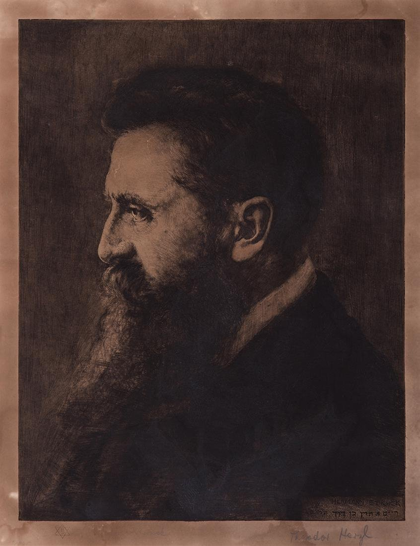 Portrait of Theodor Herzl - Engraving by Hermann Struck