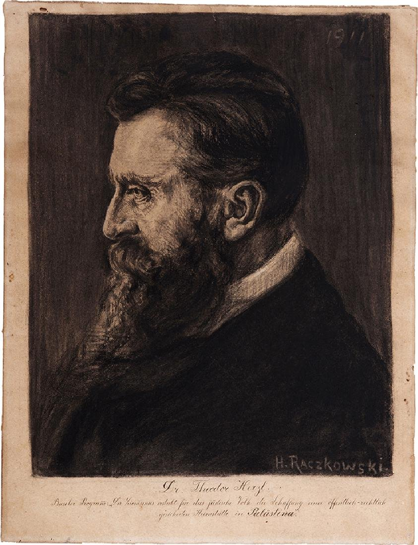 Portrait of Theodor Herzl - Charcoal Drawing, 1911