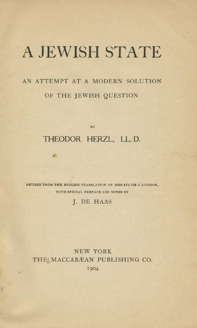 "Theodor Herzl - ""A Jewish State"" - First American"