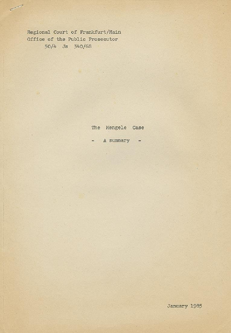 """""""The Mengele Case"""" - Booklet Published by the Public"""