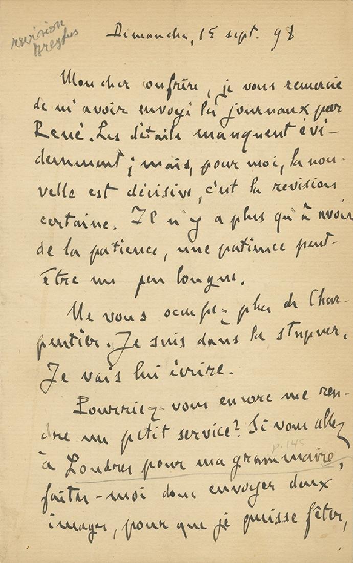 Emil Zola - Autograph Letter, 1898