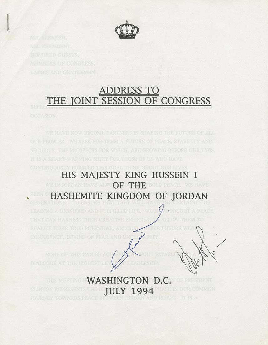 Address of the King of Jordan to the American Congress