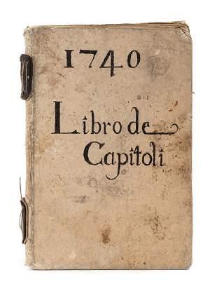 Manuscript Libro de Capitoli Book of Regulations of