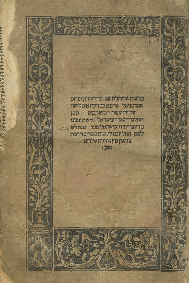 Nevi'im Achronim with Abarbanel's Commentary - Pesaro,