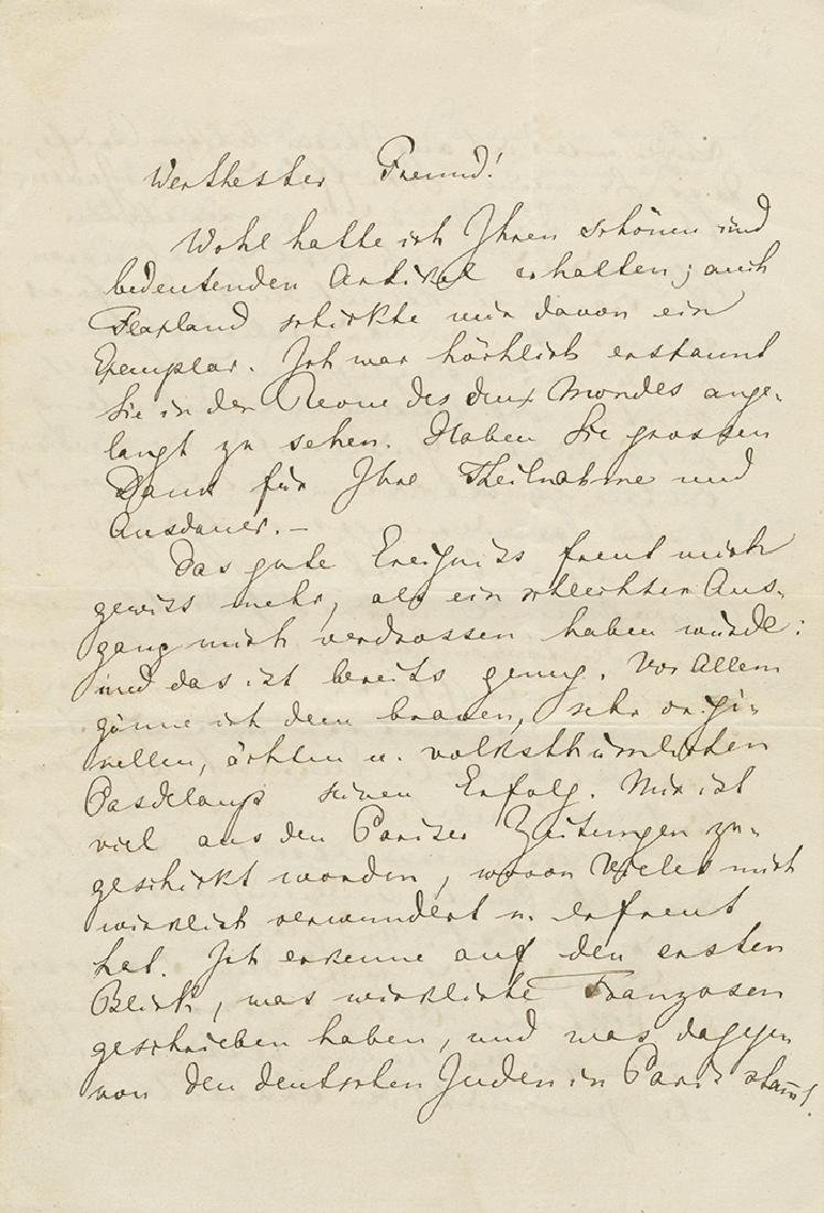 Letter with Anti-Semitic Content Handwritten and Signed