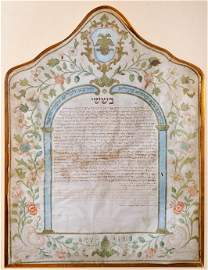 Illuminated Ketubah on Parchment – Ancona, 1789