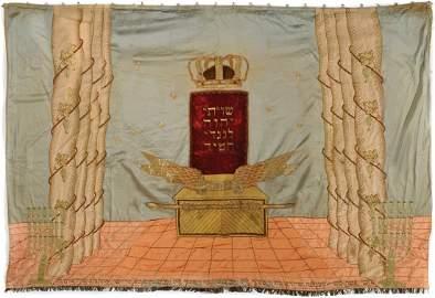 """""""Shiviti"""" Torah Ark Curtain - Europe-Jerusalem, 1839"""