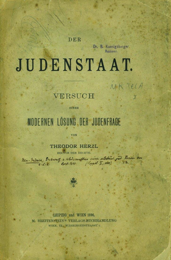 Theodor Herzl - Der Judenstaat - First Edition