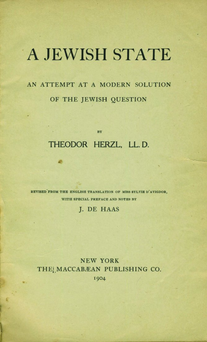 """""""A Jewish State†- First American Edition of """"Der"""